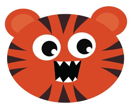 Small little round faced tiger orange in color with black stripes open mouth and canine teeth, vector, color drawing or illustration.