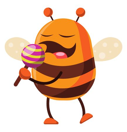 Bee is holding a lollipop, illustration, vector on white background.