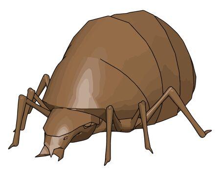 3D rhinoceros beetle, illustration, vector on white background. Vektorgrafik