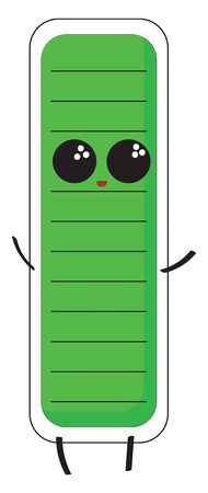 A colored illustration of a green colored battery with big eyes, vector, color drawing or illustration.