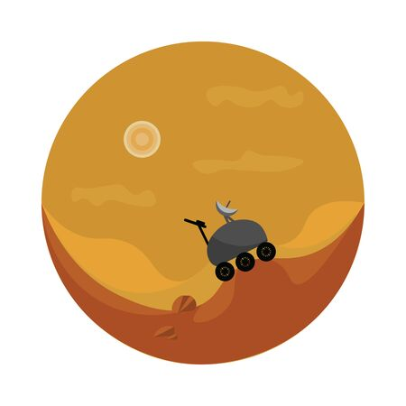 A blue colored motor vehicle that travels across the surface of mars, vector, color drawing or illustration.