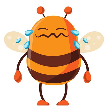 Bee is crying, illustration, vector on white background.