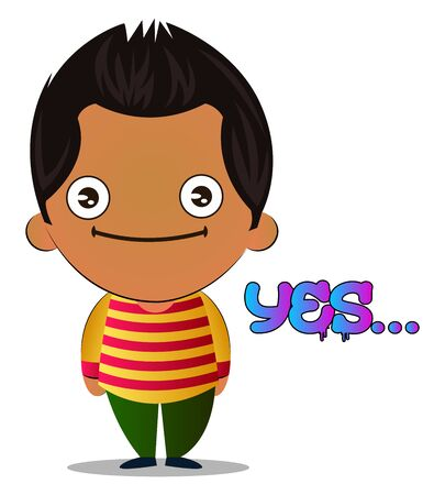 Boy is saying yes, illustration, vector on white background.