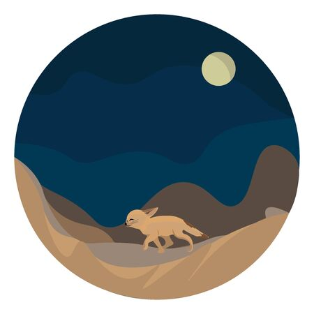 A colour illustration of a walking fox, vector, color drawing or illustration.