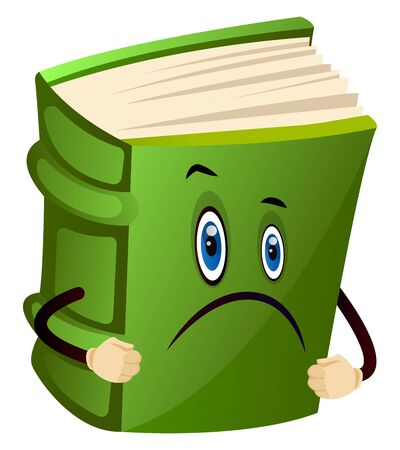 Green book is sad, illustration, vector on white background.