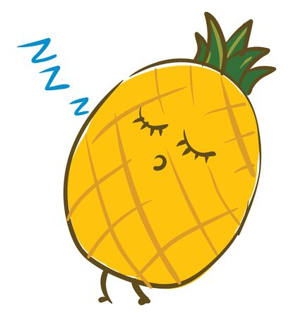 A yellow colored pineapple with green crown fast asleep, vector, color drawing or illustration. Ilustração