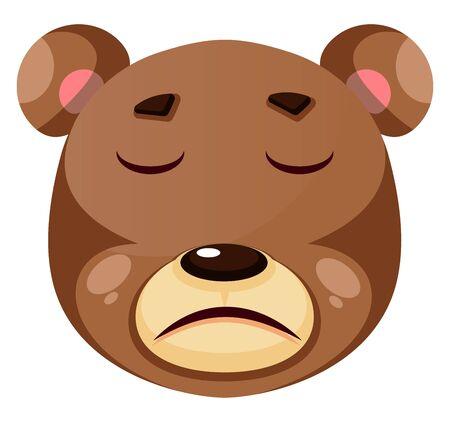 Bear is feeling suffer, illustration, vector on white background.
