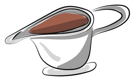 Sauce in cup, vector, color drawing or illustration. Ilustracja