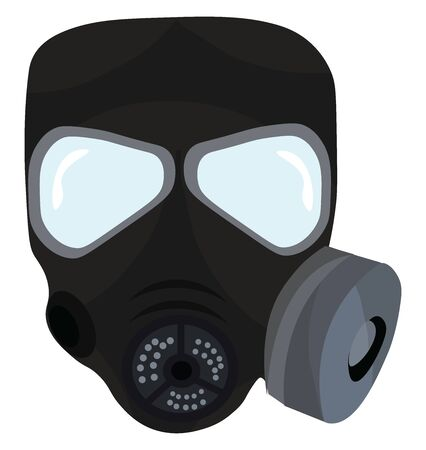 A colour illustration of a gas mask, vector, color drawing or illustration.