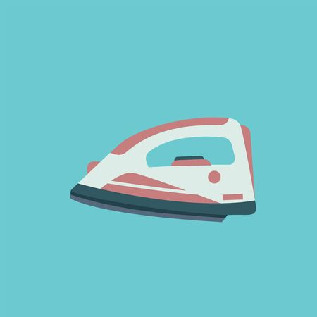 A red and white wireless iron to iron the creased clothes, vector, color drawing or illustration. Ilustração