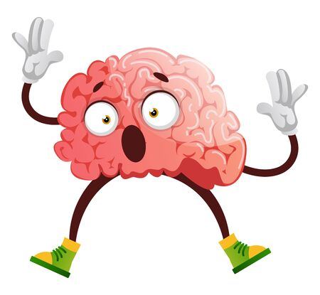 Brain is stunned, illustration, vector on white background. 일러스트