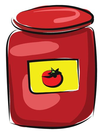 A glass bottle with tomato pulp inside and yellow sticker with tomato drawing, vector, color drawing or illustration.