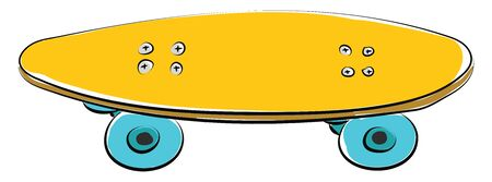 A yellow colored skateboard with four blue wheels, vector, color drawing or illustration. Çizim