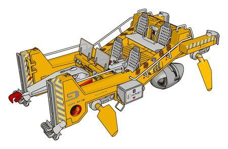 Part of excavator, illustration, vector on white background.