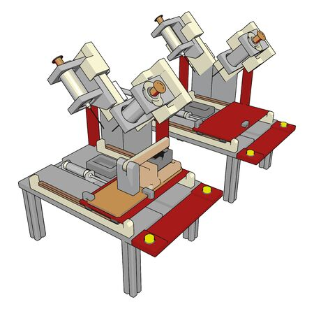 Table saws machine, illustration, vector on white background. Çizim