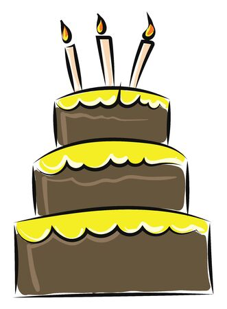 It is a birthday or anniversary cake for celebration of birthday or anniversary., vector, color drawing or illustration. Illustration