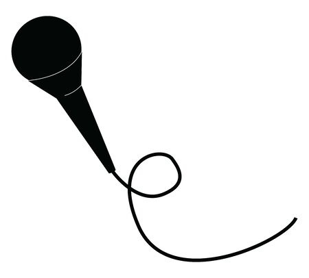 A metal microphone black in color with long thin wire attached to enhance the quantity and quality of sounds, vector, color drawing or illustration. Çizim