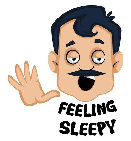 Man is feeling sleepy, illustration, vector on white background. Illustration