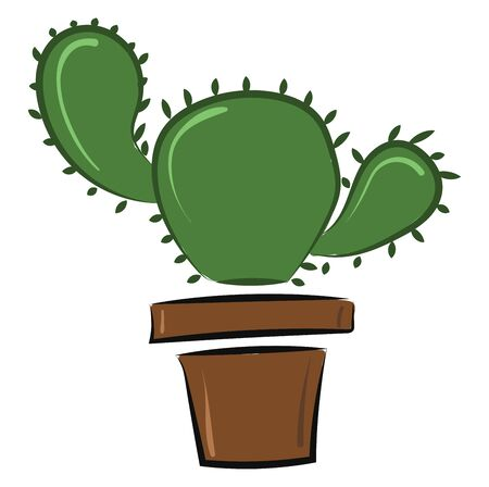 Cactus is a thick fleshy plant that grows in desert. It has a thick stem for storing water and sharp points., vector, color drawing or illustration.