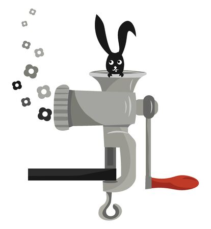 A coloured illustration of a hare in a meat grinder, vector, color drawing or illustration. Illusztráció