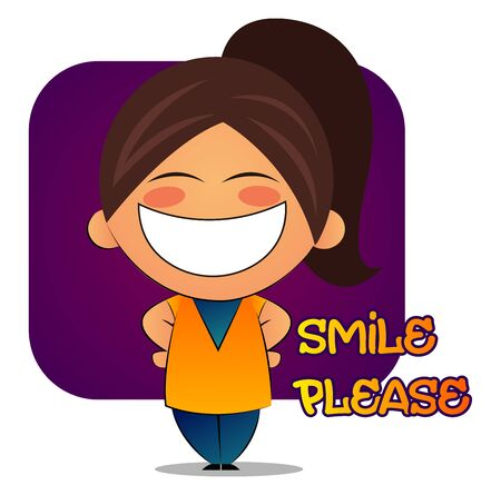 Girl with brown ponytail and big smile, illustration, vector on white background.