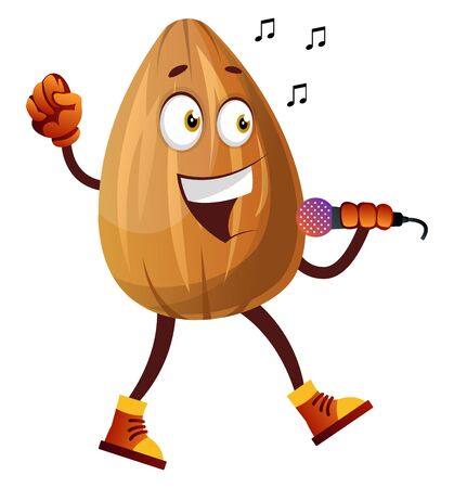 Almond nut singing karaoke, illustration, vector on white background. 일러스트