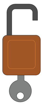 A brown color open lock with black loop and grey color key inside, vector, color drawing or illustration.
