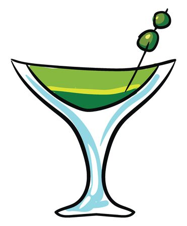 A green coloured cocktail in transparent glass., vector, color drawing or illustration.