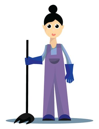 It is the woman engaged in the job of cleaning., vector, color drawing or illustration.  イラスト・ベクター素材