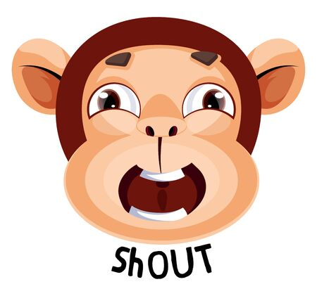 Monkey is yelling shout, illustration, vector on white background. Banque d'images - 132776942