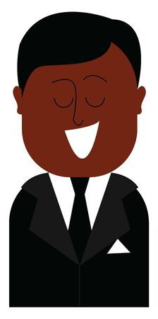A black coloured suit with a black tie and white handkerchief, vector, color drawing or illustration. Stock Illustratie