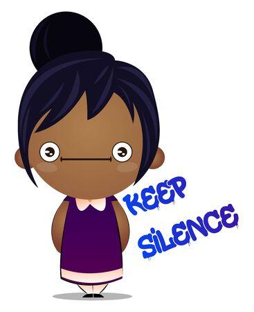 Little girl is silent, illustration, vector on white background. 向量圖像