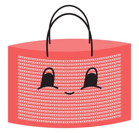 Pink colored shopping bag with two black handles, vector, color drawing or illustration. Иллюстрация