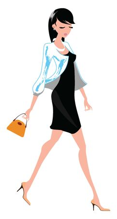 A woman heading to shopping in her high heels matching black dress and wallet in brown looks beautiful while walking over a white background, vector, color drawing or illustration. 矢量图像