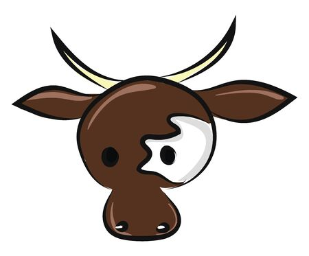 This is an image of a cow head., vector, color drawing or illustration.