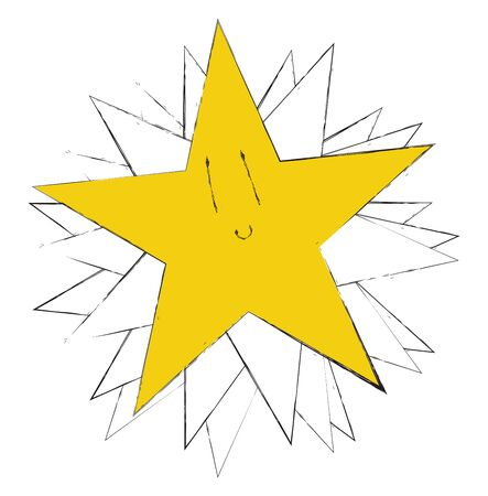 A yellow color sparkling star, vector, color drawing or illustration.