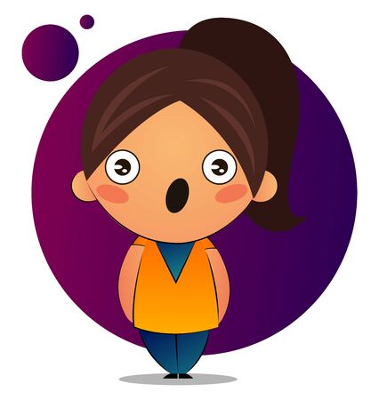 Cute girl with brown ponytail is surprised, illustration, vector on white background.