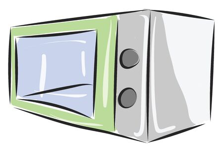 A rectangular microwave with two switches on one side with a see-through glass used for cooking, baking, heating, grilling food, vector, color drawing or illustration.
