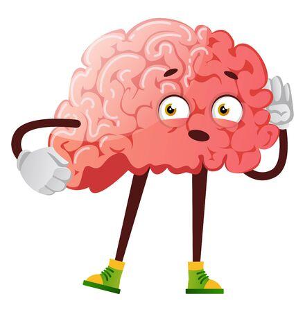 Brain is listening, illustration, vector on white background.