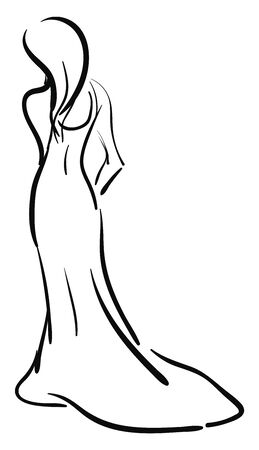 A sketch of a slim woman in a long gown and long hair, vector, color drawing or illustration. Vectores