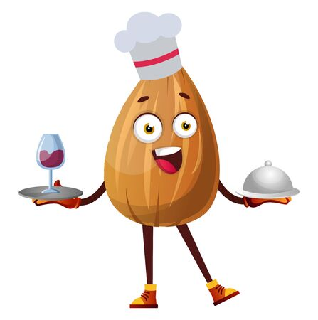 Almond working as a chef in a restaurant, illustration, vector on white background.