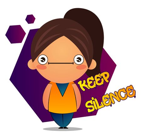 Speechless girl with brown ponytail and purple background, illustration, vector on white background.