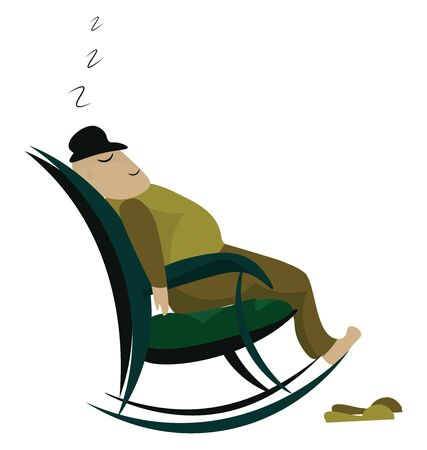 A man taking a nap on a green colored rocking chair, vector, color drawing or illustration. Illusztráció