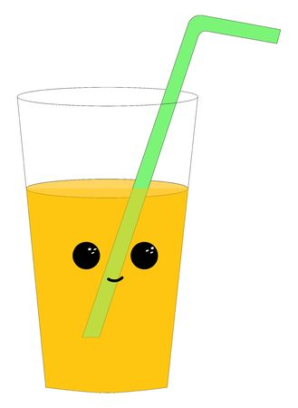 Orange juice in transparent glass with two black eyes and a nose with green straw inside the glass, vector, color drawing or illustration. Ilustracja