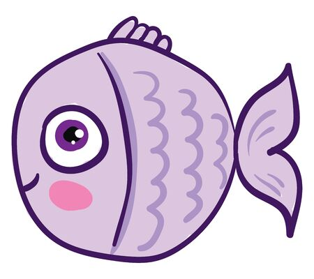 A fish is a cold-blooded creature that lives in water and has a tail and fins., vector, color drawing or illustration.