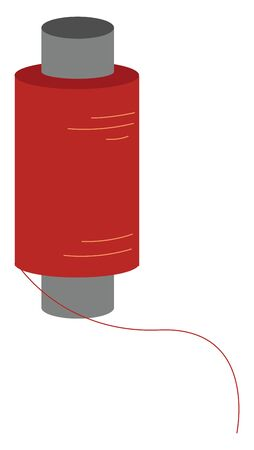 A skein of red colored thread used for sewing and stitching clothes, vector, color drawing or illustration.