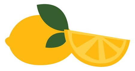 Yellow lemon with green leaves with cut piece, vector, color drawing or illustration. Ilustracja