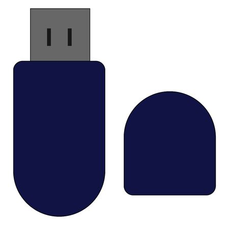 A colour illustration of a flash drive, vector, color drawing or illustration.