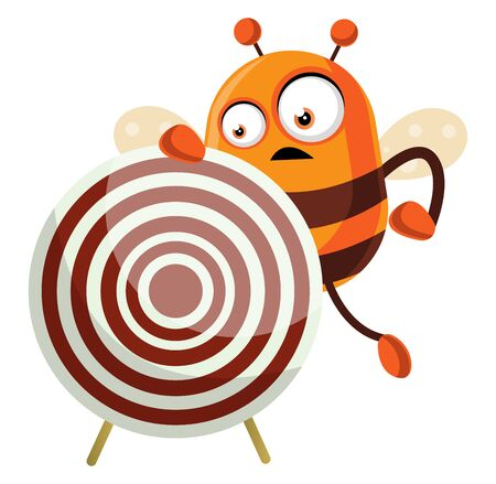 Bee holding a target, illustration, vector on white background.