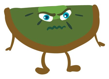 An angry looking kiwi with blue eyes, vector, color drawing or illustration. Ilustração
